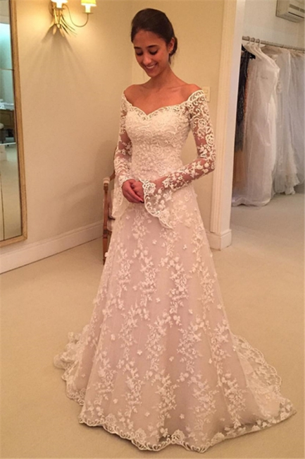 Off-the-Shoulder Buttons Appliques Long-Sleeves A-Line Lace Wedding Dresses