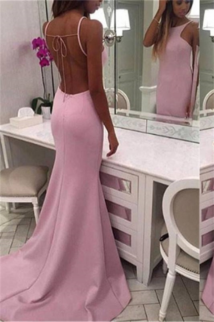 Chic Crew Sleeveless Sweep-train Chiffon Mermaid Prom Dresses