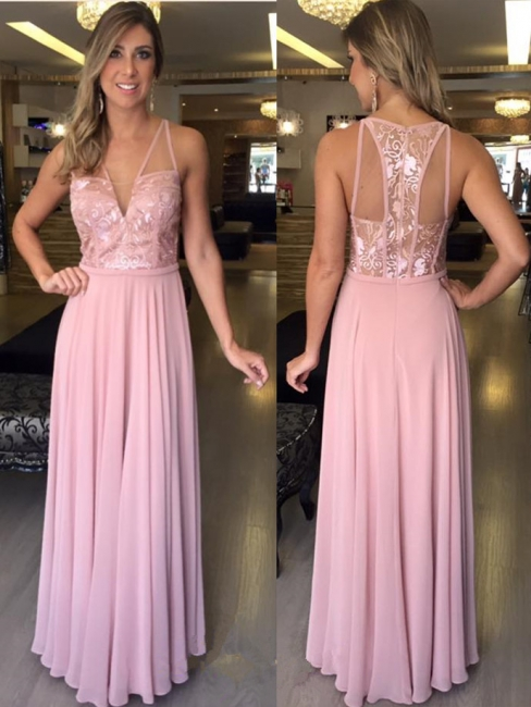 A-Line V-Neck Pink Sleeveless Lace Long Chiffon Prom Dresses