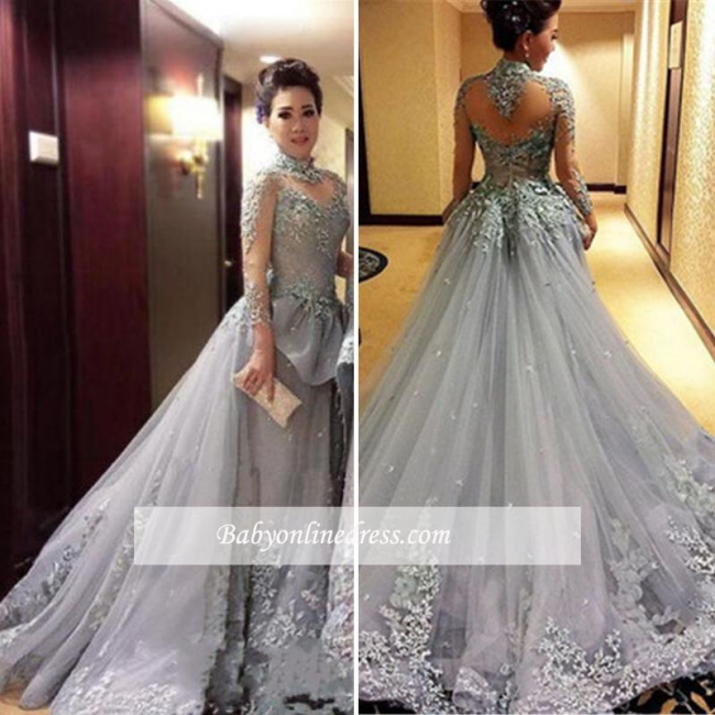 Modest High-Neck Appliques Prom Dress 2018 Tulle Long-Sleeves Evening Gowns