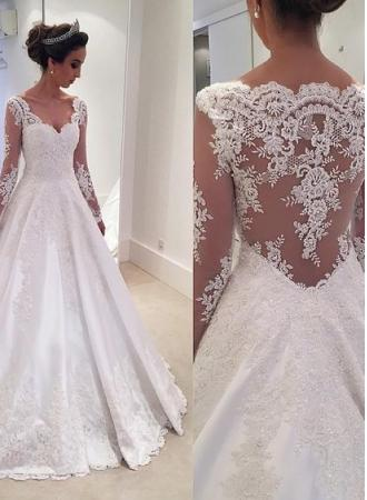 Sheer Long-Sleeves Lace Appliques Elegant A-line Wedding Dresses