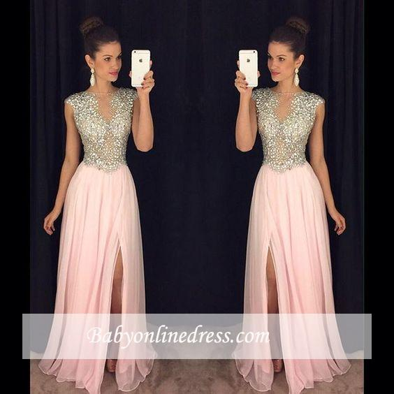 Luxury Pink Front Slit Prom Dresses 2018 A-line Beaded Crystals Long Evening Gowns
