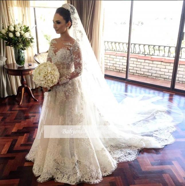 Royal Tulle Glamorous Sleeve Beadings Long Lace Wedding Dresses