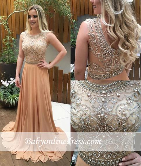 Luxury Champagne Long Chiffon Prom Dresses A-line Crystals-Beaded Evening Gowns