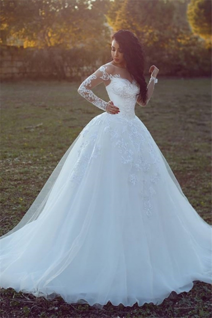 Appliques Tulle Ball Long-Sleeves Glamorous Wedding Dresses