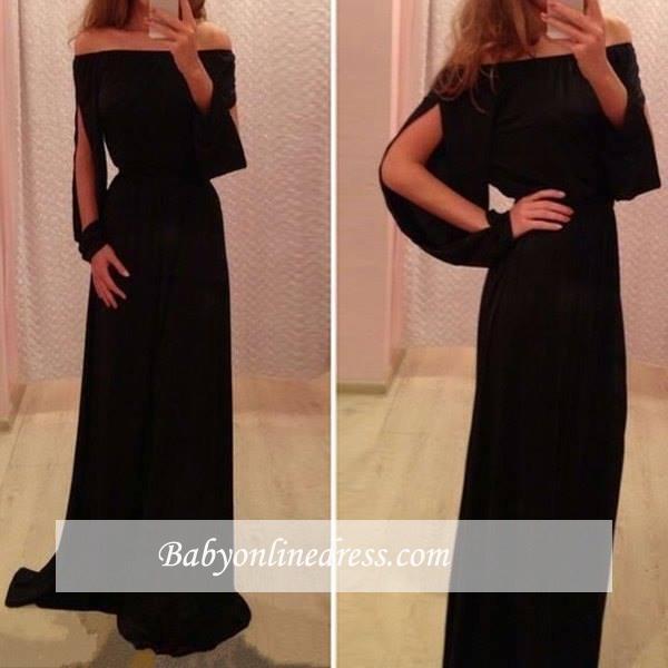 Chiffon Black Summer Long-Sleeve A-Line Off-the-Shoulder Prom Dresses