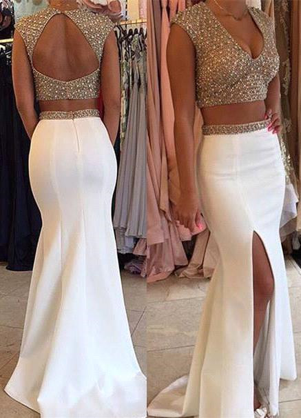 Sexy Two Pieces V-Neck Prom Dress Mermaid Open Back Party Gowns