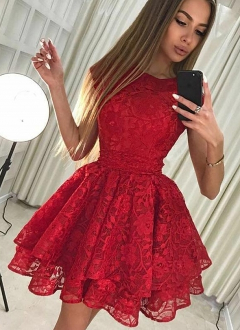 Chic Ruby A-Line Homecoming Dresses | Scoop Sleeveless 2 Layers Mini Cocktail Dresses