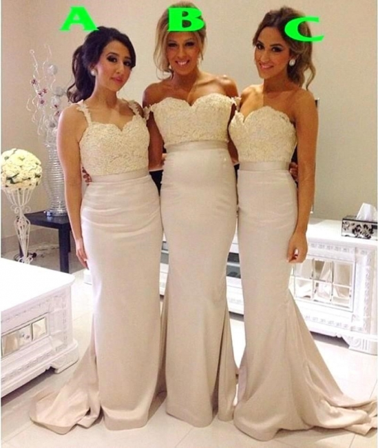 Lace Mermaid Bridesmaid Dresses Sweep Train Simple Party Gowns