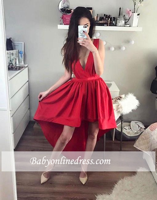 Stylish Hi-Lo A-line Prom Dresses Sleeveless Red Deep V-neck Evening Dresses