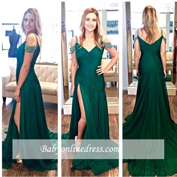 Zipper Crystal Long Split Ruffles Green A-Line Evening Dresses