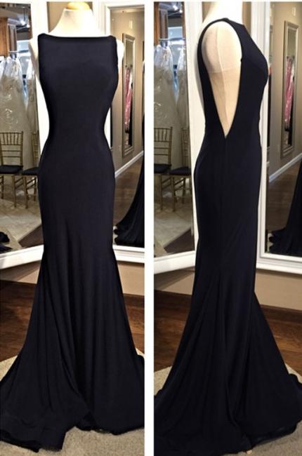 Sexy Black Sheath Prom Dress Backless Bateau evening dress