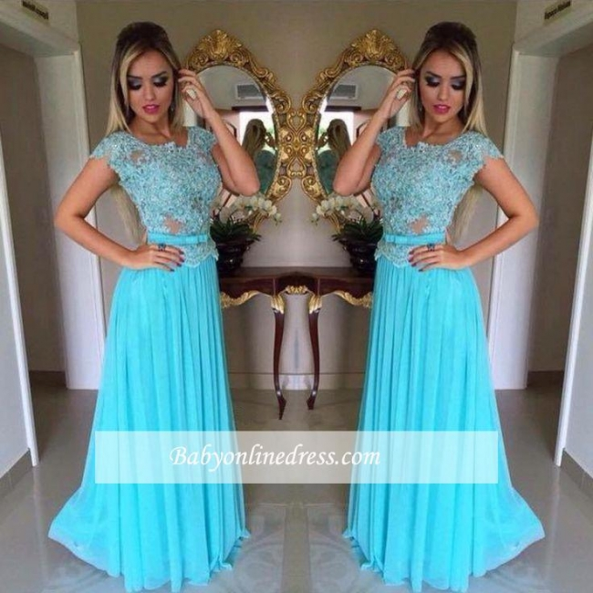 Appliques Scoop Short-Sleeves A-Line Chiffon Prom Dress