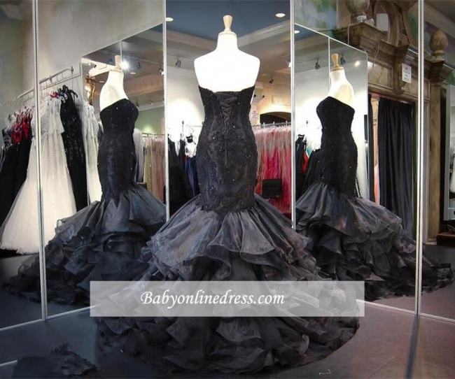 Sweetheart Lace-up Modern Sweep-Train Ruffles Black Sleeveless Evening Gown