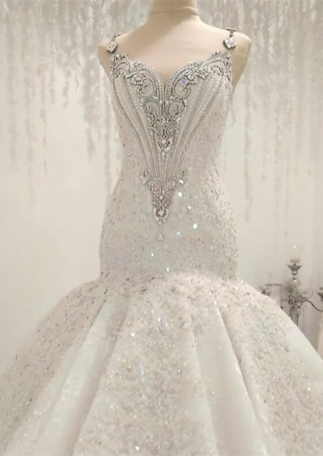 Crystal Mermaid Wedding Dresses | Straps Gorgeous Bridal Gowns 2020