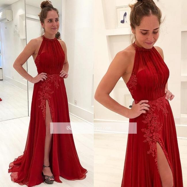 Halter Neck Red Prom Dresses | Halter Side Slit Evening Gowns