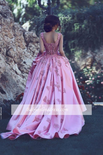 Glamorous Pink Sleeveless Prom Dress 2018 A-Line Court-Train Appliques Evening Gowns BA4562