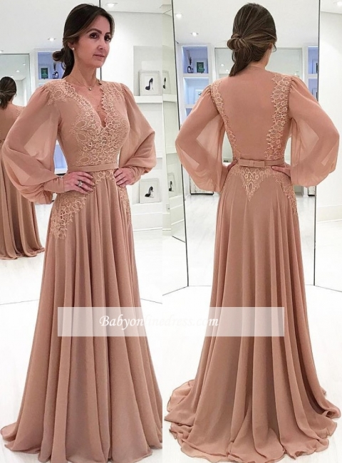 Elegant Puffy Sleeves Evening Gowns | Champagne V-Neck Chiffon A-line Prom Dresses