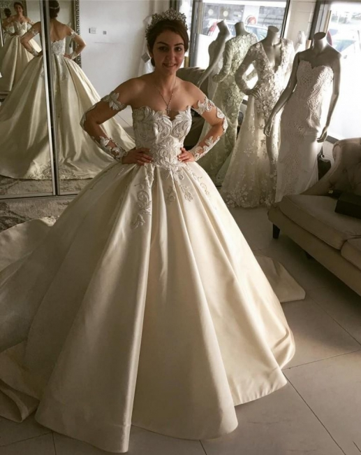 Elegant Ball Gown Wedding Dresses | Off-the-Shoulder Long Sleeves Bridal Gowns