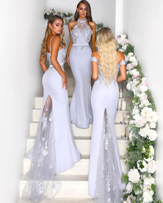 Elegant Mermaid Bridesmaid Dresses | Lace Appliques Maid Of The Bride Dresses