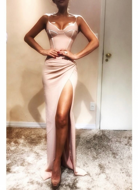 Charming Spaghetti Straps Mermaid Prom Dresses with Side Slit | Fit and Flare Long Evening Dresses