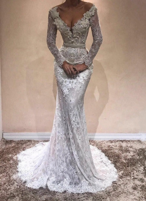 Alluring V-Neck Lace Evening Gowns   Long Sleeves Pearls Mermaid Prom Dresses