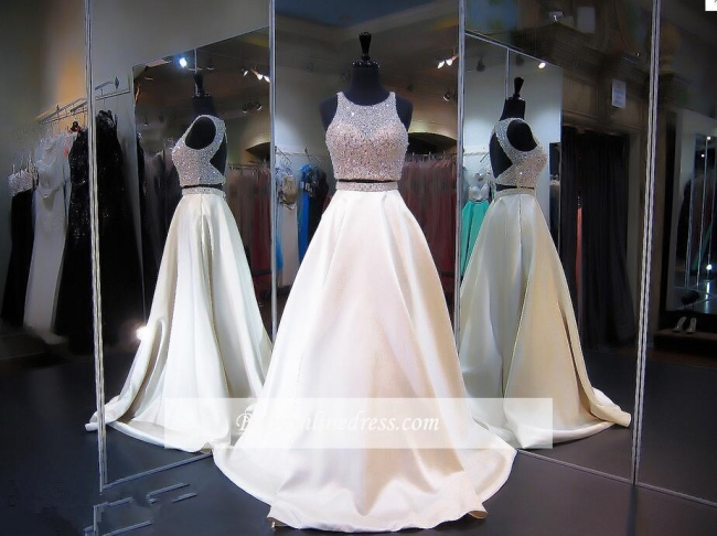 2018 Sexy Two-Piece A-line Beads Prom Dress Zipper Jewel Sleeveless