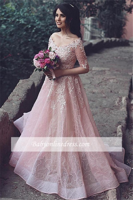 Pink A-Line Long Applique Evening Gowns Half Sleeve Prom Dresses