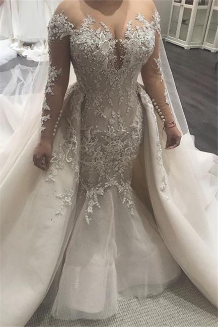 Elegant Lace Appliques Tulle Overskirt Mermaid Wedding Dresses