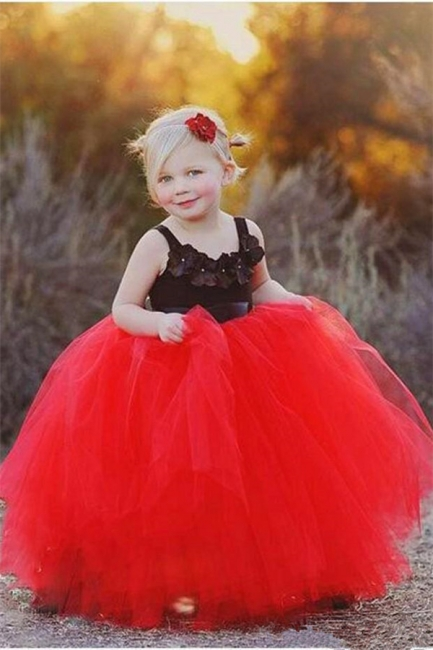 New Tulle Ball Gown Straps Black Red Flower Girl Pageant Dress