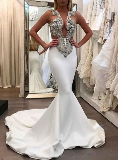 2018 Sexy Mermaid Crystal Sleeveless Court Train Prom Dress BA6494