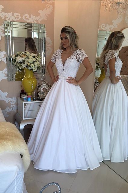 Sheer Bowknot Short-Sleeves Lace Crystal V-Neck White Prom Dress