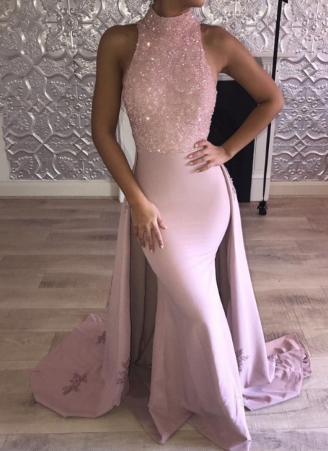 Glittering Pink Mermaid Prom Dresses   High Neck Evening Gown with Overskirt