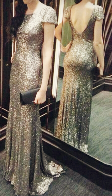 Sequins Mermaid Long Prom Dresses Cap Sleeves Backless Evening Gowns