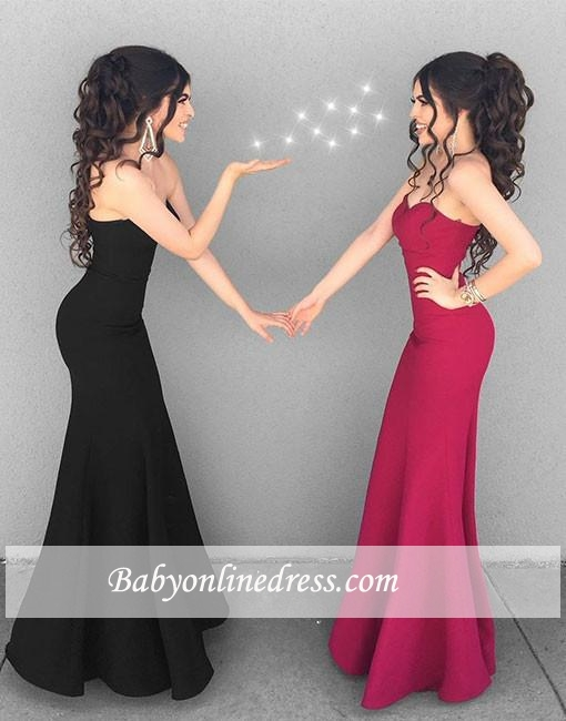 Simple Mermaid Sweetheart Prom Gowns Long Black Stylish Ruffles Evening Dresses