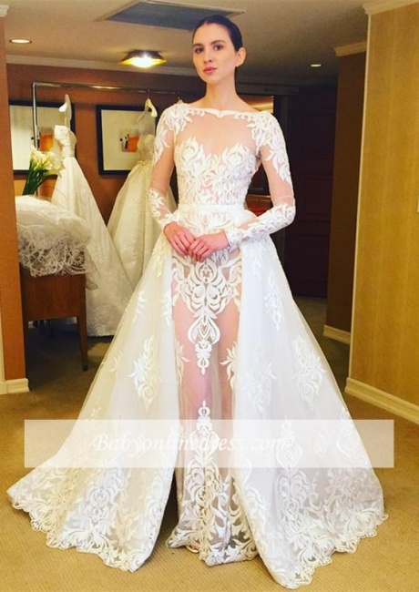 Sheer Lace Ruffles Long Sleeves Stunning Wedding Dresses with Overskirt