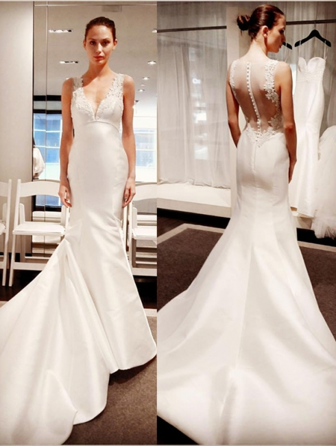 V-Neck Button Zipper Sleeveless Gorgeous Lace Mermaid Wedding Dresses