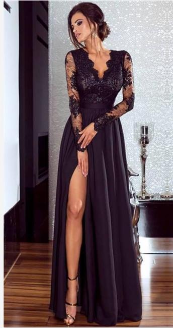 A-line Long Sleeves V-neck Split Floor-length Lace Appliques Prom Dresses