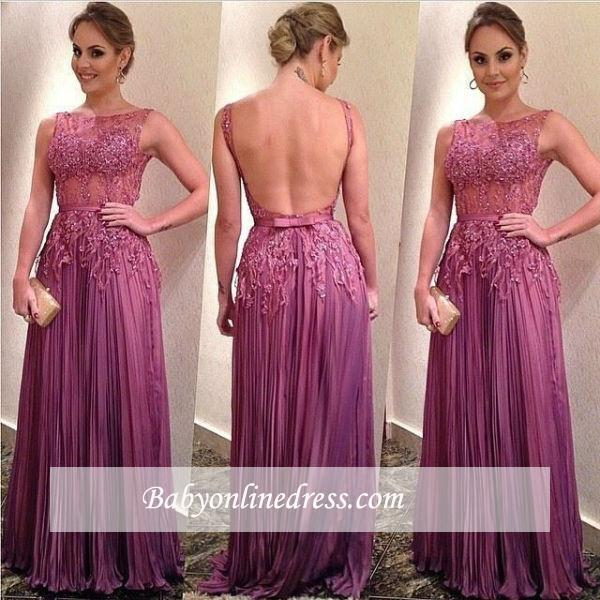 Ruffles Sleeveless A-Line Appliques Elegant Backless Prom Dresses