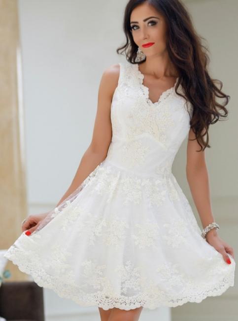 Elegant Lace A-Line Homecoming Dresses | V-Neck Sleeveless White Mini Cocktail Dresses