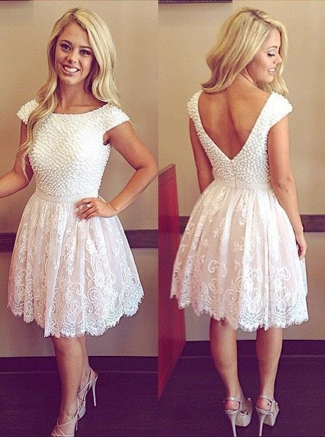 White  A-line Lace Homecoming Dress V Back Cocktail Dress with Beadings
