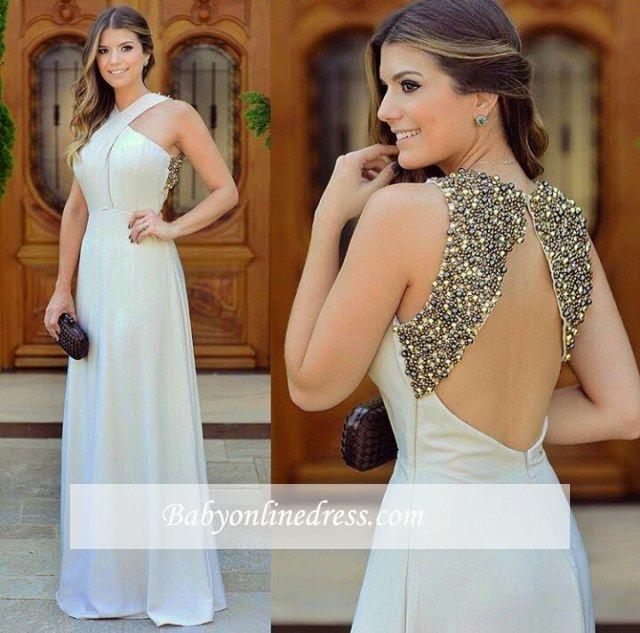 2018 Beautiful Sleevless Zipper Chiffon Halter Long Evening Dress with Beadings