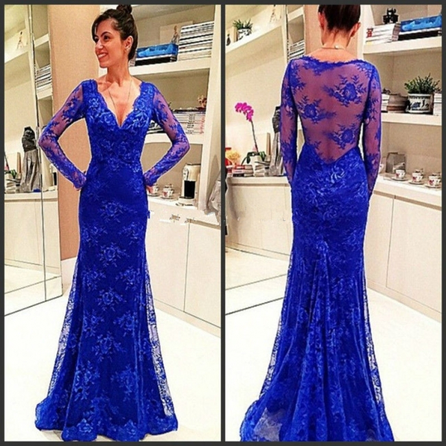 Elegant Long-Sleeve Royal-Blue Evening Gowns Lace Prom Dress