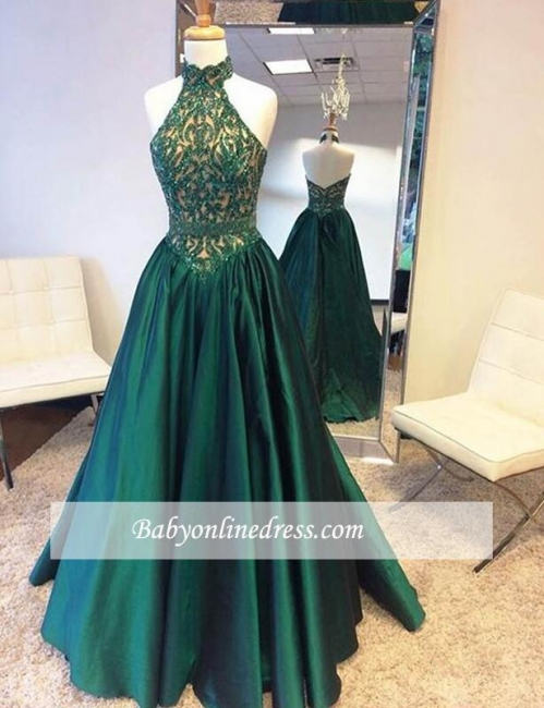 Green Open-Back Halter A-Line Prom Dress 2018 Floor-Length Beadings Evening Gowns