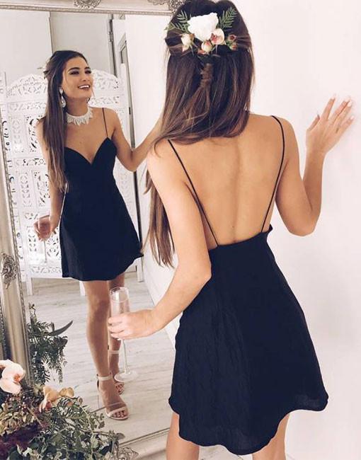 Short Backless Chic V-neck Stylish Spaghetti-Straps Black Cocktail Dress