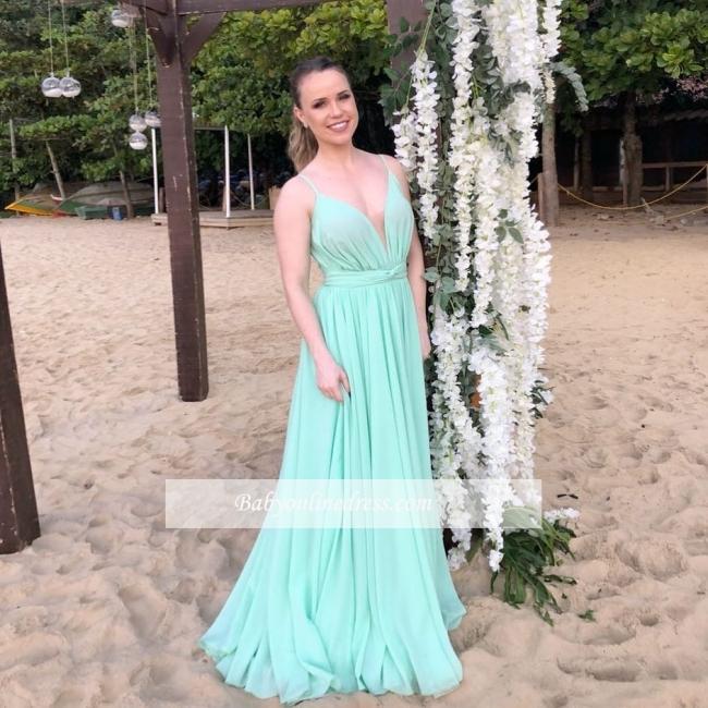 Maxi V-Neck Sexy Chiffon Long Simple Beach Spaghettis-Straps Evening Dresses
