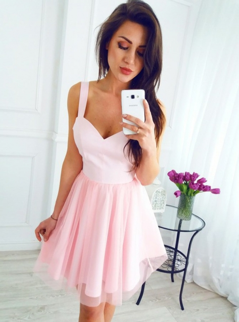 Chic Pink Tulle Short Homecoming Dresses | Straps A-Line Mini Cocktail Dresses