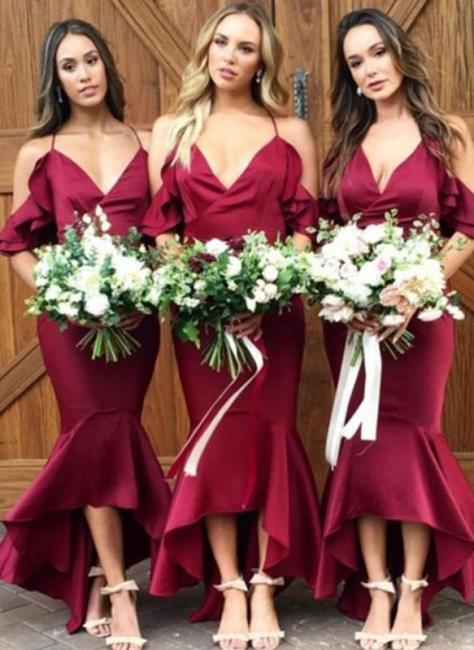 Sexy High-Low Mermaid Bridesmaid Dresses | Simple Spaghetti Straps Ruffles Wedding Party Dresses