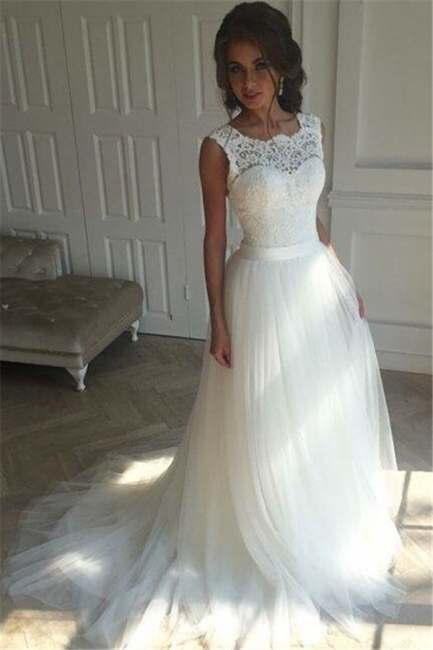 Simple Sleeveless Sash Lace Open-Back A-line Wedding Dresses