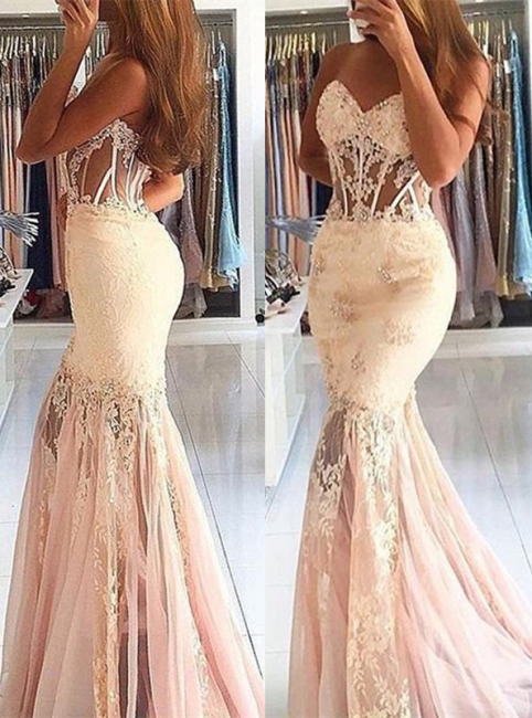 Stunning Appliques Mermaid Long Sweetheart Lace Prom Dress